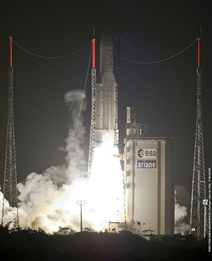 Ariane 5 lifts off with its heaviest payload ever – ATV Albert Einstein – at the start of the workhorse vehicle's 69th launch from French Guiana.