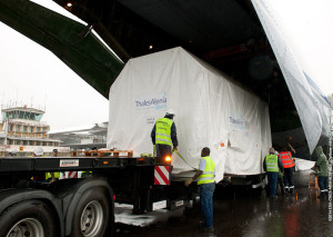 Sentinel-1A is unloaded from the An-124 cargo jetliner after its arrival at Félix Eboué International Airport near French Guiana's capital city.