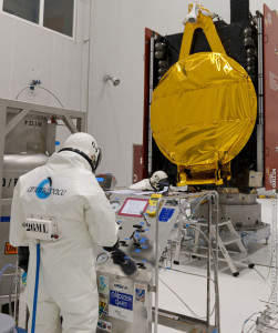 ARSAT-1 is fueled in the Spaceport's S5 payload preparation building in preparation for launch on Arianespace Flight VA220.