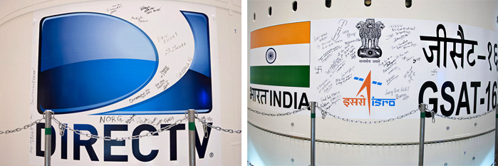 After the related DIRECTV-14 and GSAT-16 payload graphics were applied to the launcher's payload fairing, the various satellite team members made their mark – adding personal signatures and other messages ahead of Ariane 5's December 4 liftoff.