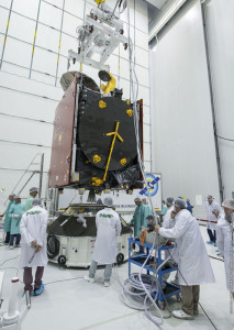 Inside the S5 payload preparation facility, Flight VA226 co-passenger ARSAT-2 is undergoing the fit check process – an important step in all Arianespace Ariane 5 missions to confirm the spacecraft's compatibility with the adapter that will be used for its integration on the heavy-lift launcher.
