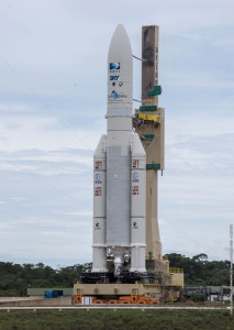 Riding atop its mobile launch table, Ariane 5 is moved to the Spaceport's ELA-3 complex in preparation for Arianespace's May 27 mission.
