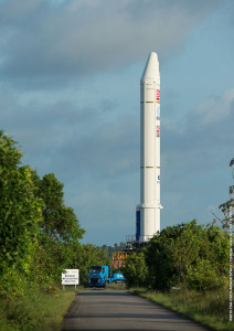 One of Ariane 5's two solid propellant boosters for Flight VA225 is transferred from the Spaceport's preparation area for integration with the vehicle's core cryogenic stage in the Launcher Integration Building.