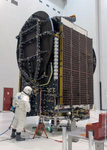 "Intelsat 34 is ""topped off"" in the Spaceport's S5 payload preparation facility, readying the satellite for its upcoming integration on Ariane 5."
