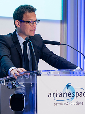 Chairman & CEO Stéphane Israël outlines Arianespace's 2016 launch planning for reporters during the company's traditional year-opening press conference in Paris.