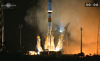 Liftoff! Soyuz begins its ascent as shown on Arianespace's launch broadcast, carrying Gaia on the Russian-built launcher's sixth mission from the Spaceport.