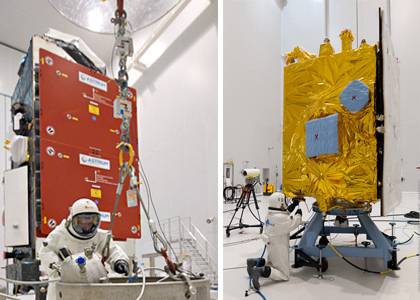 Alphasat is fueled in the S5A hall of the Spaceport's S5 payload preparation facility (photo at left), while INSAT-3D receives its fuel load in the S5B hall (at right).