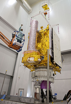 The GSAT-7 satellite is readied for the startup of its pre-launch checkout in the Spaceport's S5 payload preparation facility.