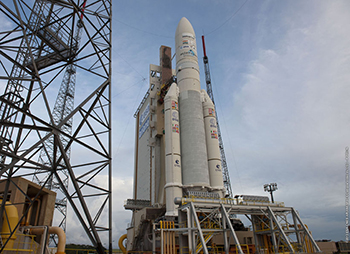 Arianespace's workhorse Ariane 5 is shown in the ELA-3 launch zone prior to its July 25 liftoff from the Spaceport.