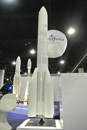 Arianespace's display at the Satellite 2016 exhibition included a scale model of Ariane 6, which is being developed as a follow-on to the workhorse heavy-lift Ariane 5 (visible in the background, along with Soyuz).