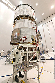 "ATV Albert Einstein is ""topped off"" in the S5A fueling and integration hall of the Spaceport's S5 payload preparation building for its upcoming launch on Ariane Flight VA213."