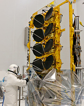 The FM4 satellite for O3b Networks is readied for fueling in the Spaceport's S5 payload preparation facility.