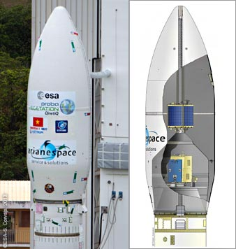 The VV02 mission's three satellite passengers are encapsulated in the Vega payload fairing, which is shown in an aerial photo of the Spaceport's SLV launch site (photo at left) and illustrated by the cutaway drawing at right.
