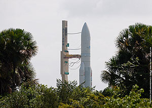 Arianespace's sixth Ariane 5 of 2010 is shown on its way to the ELA-3 launch zone during today's transfer from the Final Assembly Building.