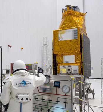 GÖKTÜRK-1A satellite fueling for Arianespace's Vega Flight VV08
