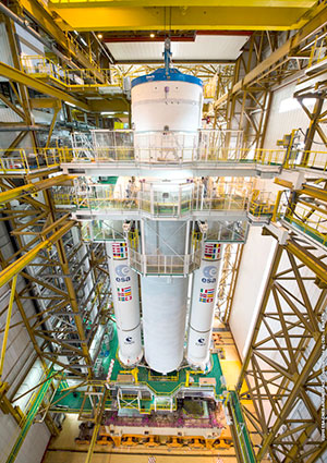 Ariane 5 launcher for Flight VA235 with SKY Brasil-1 and Telkom-3S is shown during its initial build-up