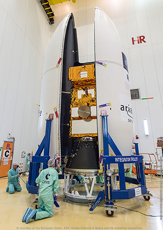 Vega's payload fairing is encapsulated around the Sentinel-2B satellite