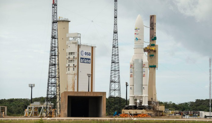 Ariane 5 rollout with EchoStar XVIII and BRIsat
