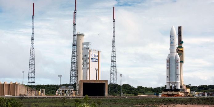 Ariane 5 during its rollout to the ELA-3 launch zone ahead of its December 21 liftoff with Star One D1 and JCSAT-15