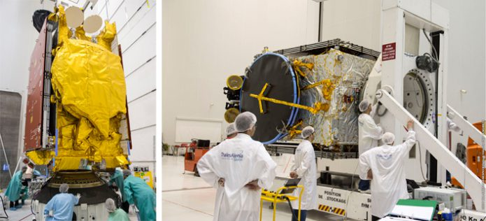 SKY Brasil-1 and Telkom-3S undergo checkout for Arianespace Ariane 5 Flight VA235 at the Spaceport in French Guiana