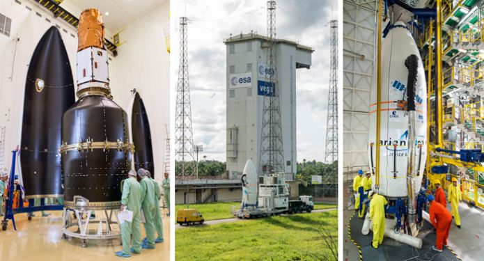 Integration of the Vega launch vehicle for Arianespace Flight VV10 on August 1