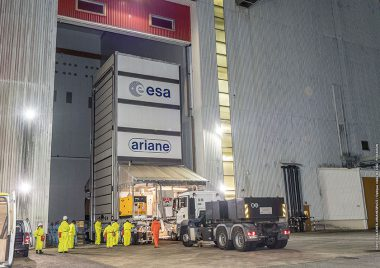 Galileo satellite passengers are transferred to the Spaceport's Final Assembly Building. Flight VA240. Four Galileo spacecraft