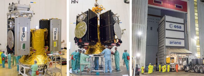 The four Galileo satellites are shown during final preparations