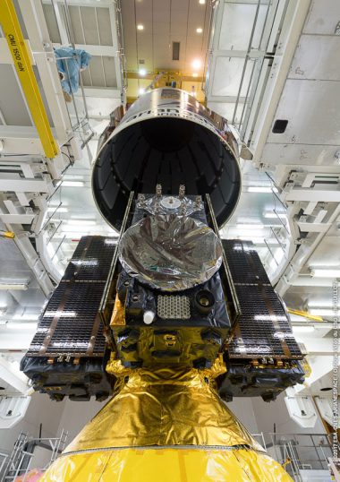 Ariane 5's fairing is lowering over the payload of four Galileo navigation satellites. Flight VA240. Four Galileo spacecraft