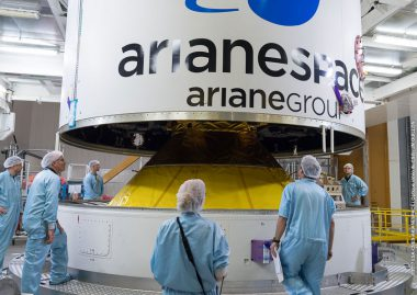 Four Galileo satellites passengers are nearly fully encapsulated by the protective payload fairing.